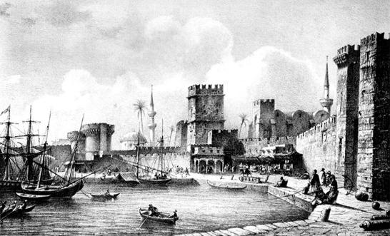 Μεσαιωνική πόλη Ρόδου γκραβούρα
